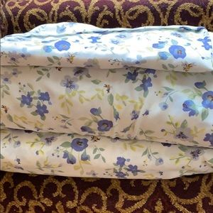 Other - Twin sheet set, white with blue flowers.